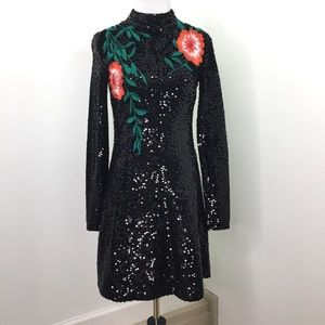 Gianni Bini Black Rose Sequins Long Sleeve  Dress